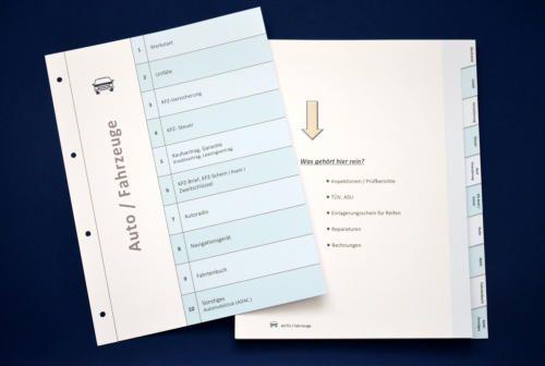 Ordner-Register für Auto Unterlagen
