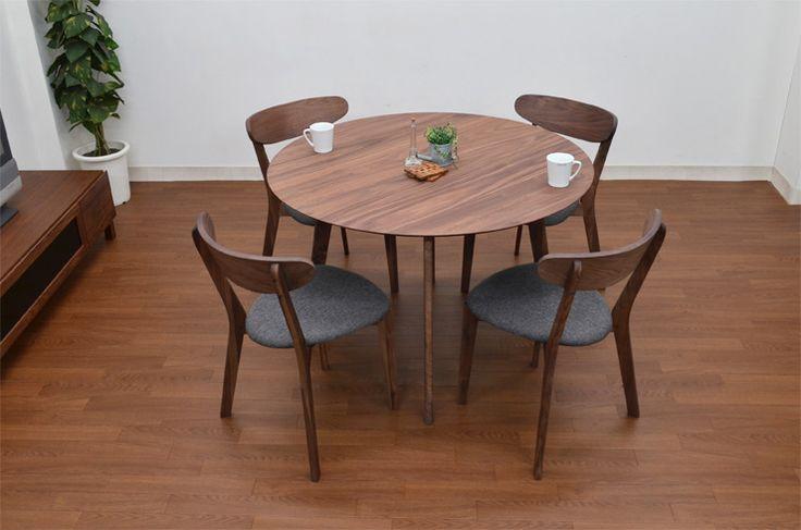 【楽天市場】ダイニングテーブルセット 5点セット 110cm 丸テーブル garet-351 ウォールナット ファブリック ダイニングテーブルセット 円テーブル 北欧 4人掛け 4人用 モダン 家族 クッション 木製 リビングテーブル:インテリアトレジャーランド