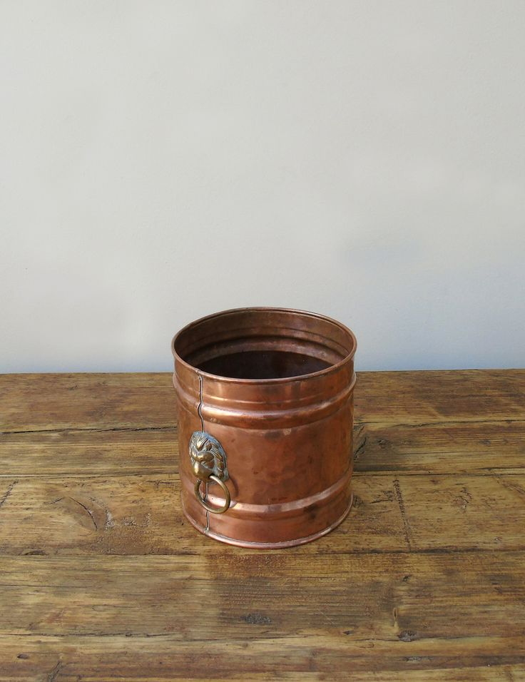 This antique Victorian French copper planter makes for a stylish indoor plant pot or storage accessory. Features brass lion decorative handles. Available from The Den & Now.  http://thedenandnow.co.uk/collections/home-accessories/products/victorian-french-copper-brass-planter
