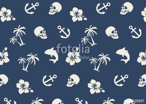 #seamless #tropical #beach #summer #sea #anchor #palms #shark #hibiscus #hawaii #seamless #pattern #triaxyz