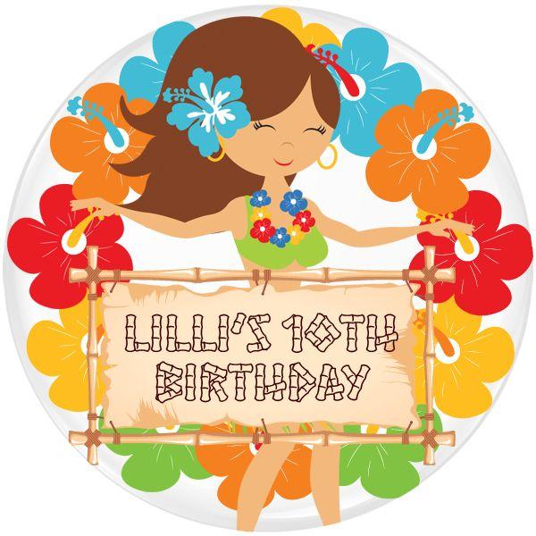 Aloha Personalised Birthday Party Badge #915