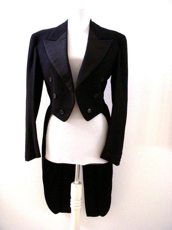 Vintage Tuxedo Jacket with Tails  Black Tuxedo by OmAgainVintage