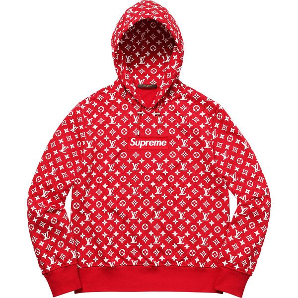Supreme Louis Vuitton/Supreme Box Logo Hooded Sweatshirt ❤ liked on Polyvore featuring tops, hoodies, louis vuitton, louis vuitton hoodie, logo top, hooded pullover and red top