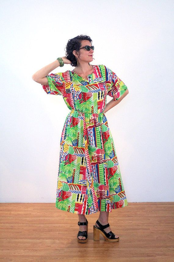 Tai 80s Bright Tropical Dress, Two Piece Dress, Graphic Print Dress, Silk Aloha Dress, New Wave Top & Skirt, Colorful Dress, S M L