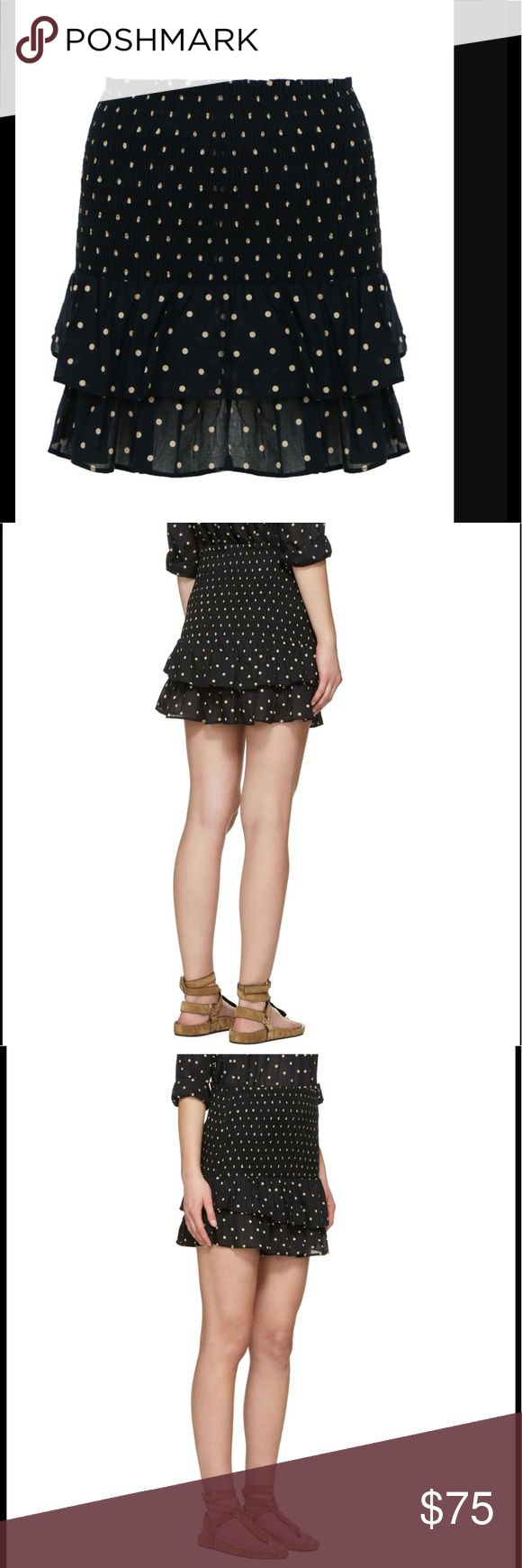 New Isabel Marant Malfos Polka Dot Skirt Isabel Marant Étoile's black and beige polka-dot print cotton Malfos skirt is a flirty and fun daywear piece. It's shaped with a wide, elasticated smocked waistband that perfectly holds your shape, and falls into two ruffled tiers that float at the tops of the thighs. Tuck in a slender T-shirt, or let the frothy hem peek from beneath a loose shirt. COMPOSITION: 100% cotton. French size 38 equal to US size 4/6 (more on the 4 side) Isabel Marant Skirts…