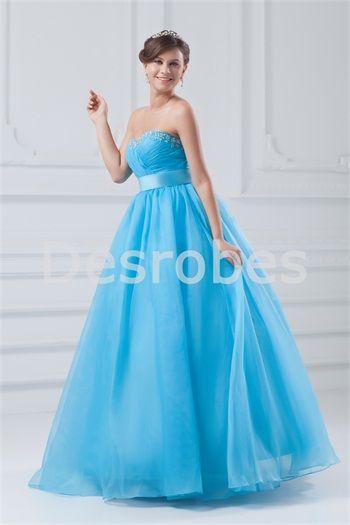 Robe de bal de promo bleu en organza dos zippé décoration perlée