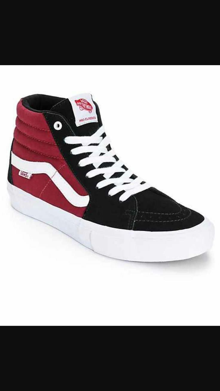 Get a classic style with an updated UltraCush HD footbed for comfortable  impact protection inside a black suede and maroon canvas high top upper.
