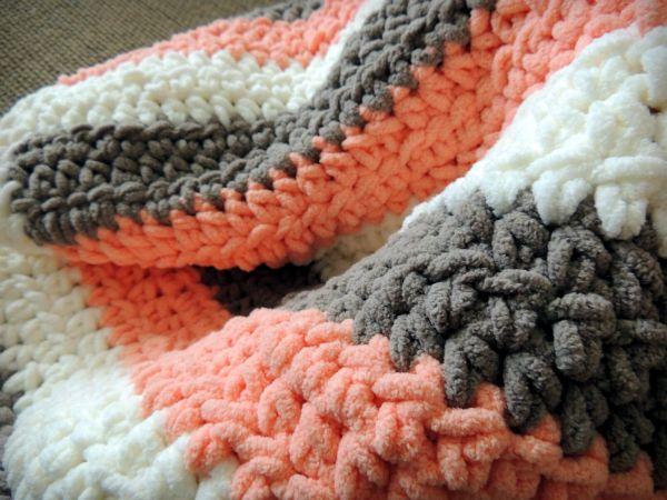Coral Stripe Baby Blanket Voila Rachellainedesigns Baby New Bernat Blanket Yarn Crochet Patterns