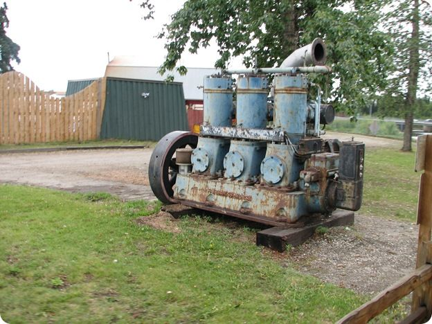An old three-cylinder diesel Fairbanks-Morse engine used for one of the first diesel trains in Alaska.