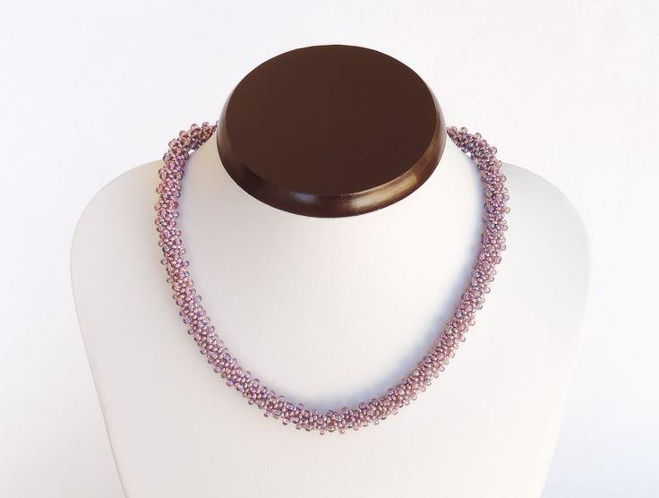 Purple bead crochet rope made with Preciosa beads - Colier cu margele mov metalizate si mov cu efect AB Preciosa - colectia Wild Berries (180 LEI la AndiBede.breslo.ro)