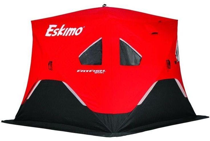 Eskimo Insulated Ice Fishing Shelter Large Removable Windows 2 Doors 94 x 94 Red #Eskimo