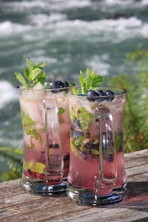 Blueberry Basil Mojitos