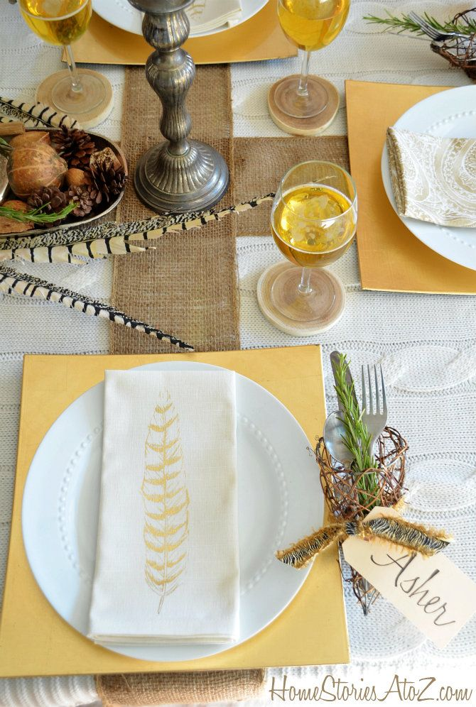 Using natural elements for Thanksgiving tablescape.