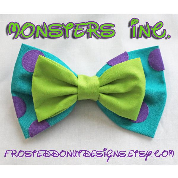 Monsters Inc. Sulley and Mike Bow ($9) ❤ liked on Polyvore featuring accessories, hair accessories, hair bows, inc international concepts, dog hair accessories, large hair bows and hair bow accessories