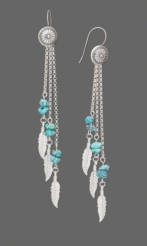 Earrings with Sterling Silver Chain, Turquoise Chips and Sterling Silver Feather Charms