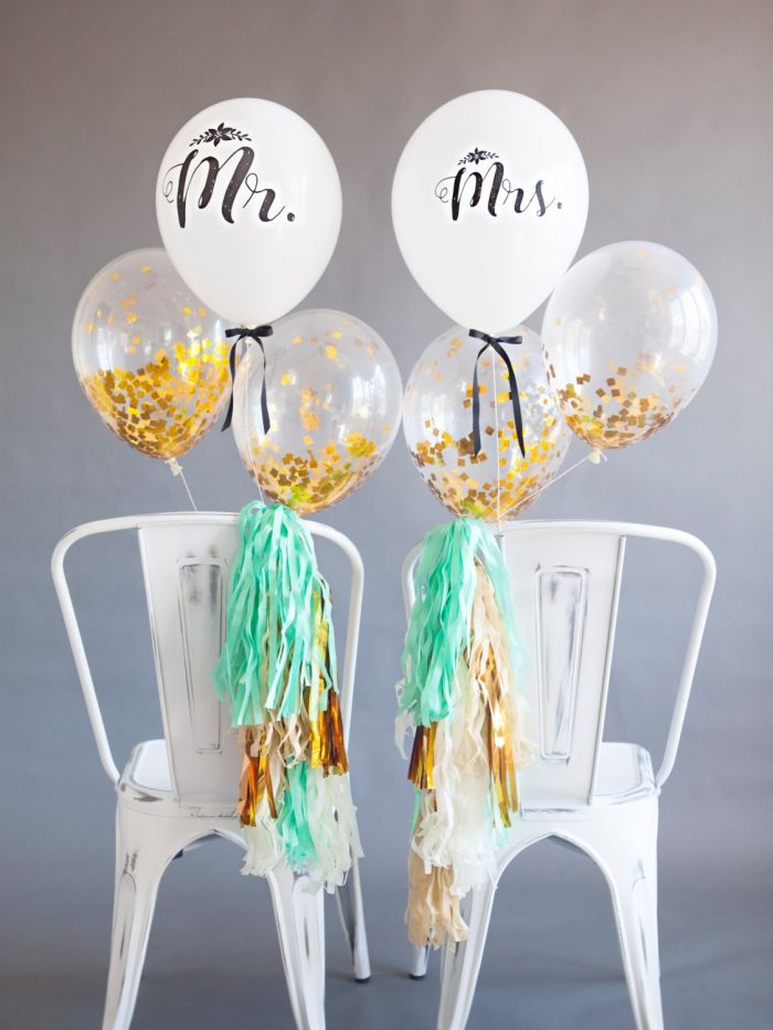 Cute and playful Mr. and Mrs. chair balloons by Twigsandtwirlsllc via etsy. #mrandmrsballoons  #weddingchairsigns  #reception