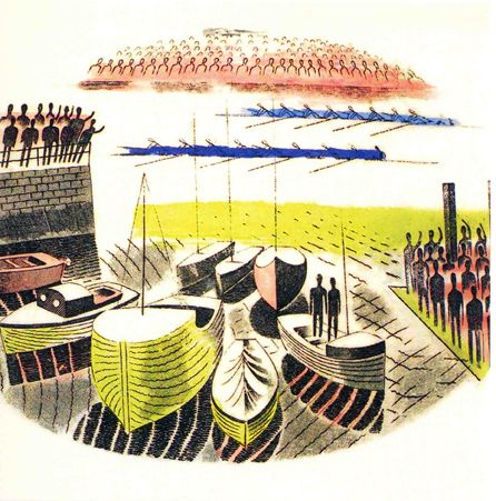 "Eric Ravilious:""Boat Race Day"" design for Wedgwood"