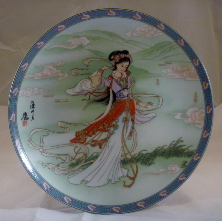 """1991 - Three Pools Mirroring the Moon Plate the 10th plate in a series of 12 plates Legends of West Lake by Master Artisan J. Xue-Bing. 8 1/2""""  - made by Imperial Ching-Te Chen Porcelain"""