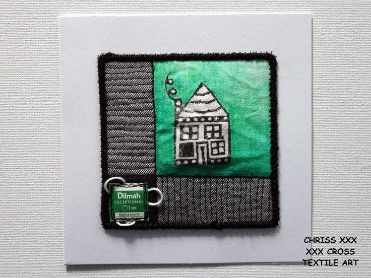 Kunstkaart / Mail Art van Kunst per post Afmeting kaart: 13x13cm (bxh) Afmeting kunstwerk: 9x9cm (bxh) Kleur: wit - groen - zwart