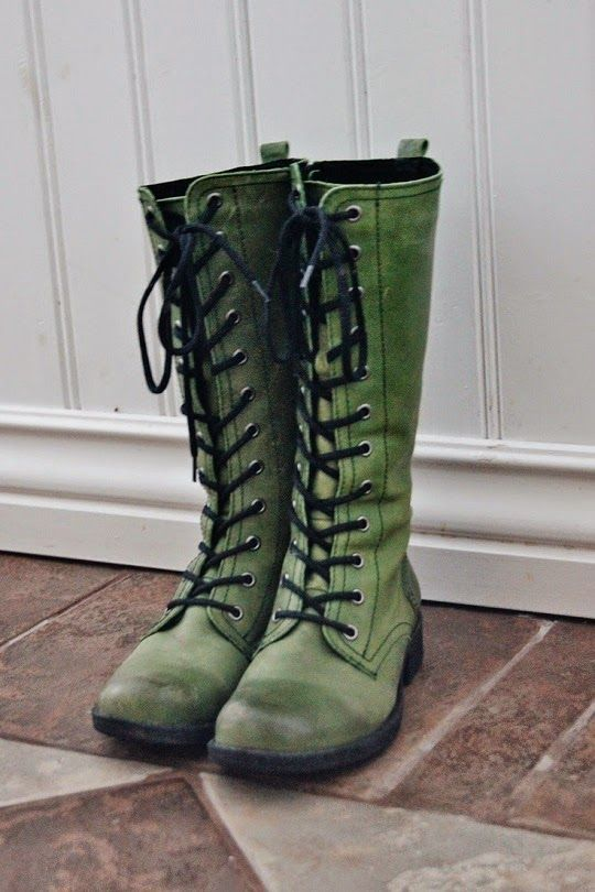 #Green Lace Up #Boots