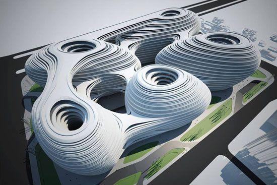 chaoyangmen SOHO III (2009) - Zaha Hadid - aerial view rendering  for Beijing, China