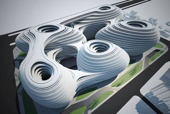 chaoyangmen SOHO III (2009) - Zaha Hadid - aerial view rendering  for Beijing, China