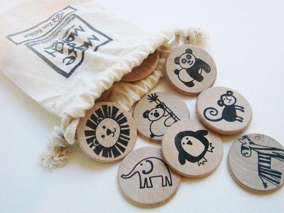 pairs of drawings on wooden disks. genius!!