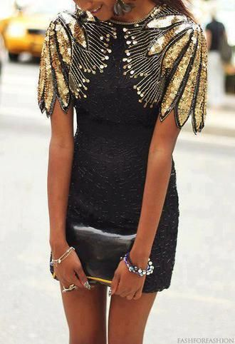 Black Sequinned Dress With Gold Embellished Sleeves Mini Alternative Dress