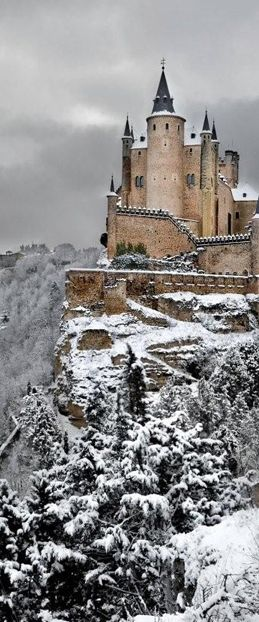 CASTLES OF SPAIN - The Alcázar of Segovia. Originally a fortress, the Alcázar has also been a royal palace, the site of Philip II's wedding to his fourth wife, Anne of Austria, and more recently a military academy. In the upper part of the city, the oldest foundations have been identified as Roman. Documents indicate that a fortress existed on this site by the early 12th century known as the Alcázar, an Arabic word for a royal residence.
