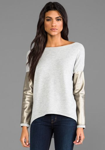 GENERATION LOVE Bobo French Terry Long Sleeve Sweater in Grey/Gold