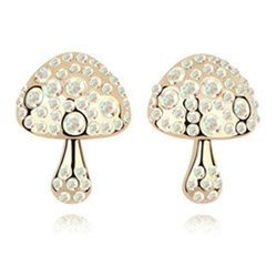 Golden Mushroom White Crystal Stud Earrings Contempo Culture
