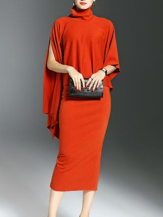 Orange Slit Two Piece Sheath Batwing Midi Dress