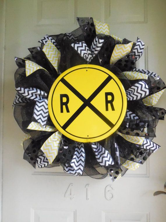 Train Railroad Crossing Sign Mesh Wreath with Chevron and Polka Dot Ribbon by TowerDoorDecor, $65.00