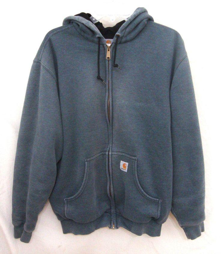 Carhartt Mens Sweatshirt Hoodie Blue Zip Front Lined Warm Work Jacket Sz Medium #Carhartt #Hoodie