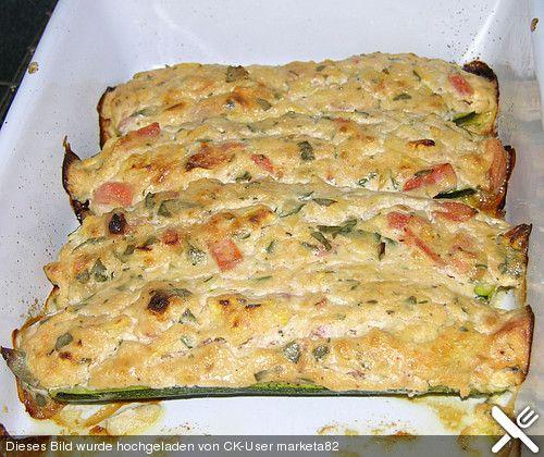 Gefüllte Zucchini mit Frischkäse