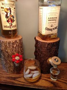 Wooden stump liquor dispensers