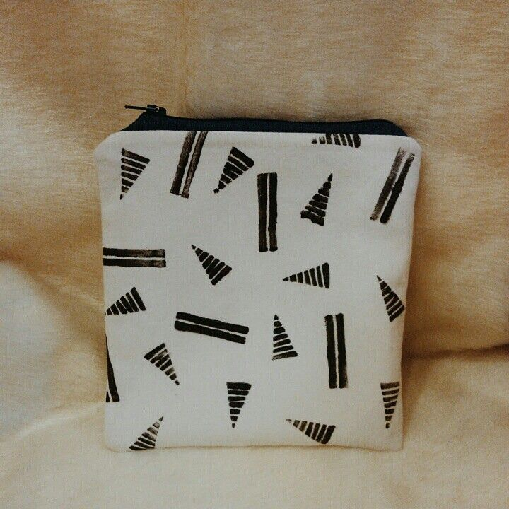 Handmade pouch I made with block printed fabric!