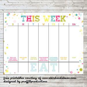 Colorful Weekly Calendar :: Free Printable