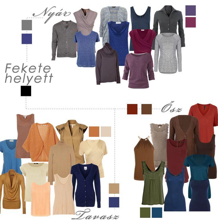 A feketét száműzni a szekrényünkből nem is annyira egyszerű feladat, mint elsőre gondolnánk. Melyik évszaktípus milyen színnel helyettesítheti ezt a színt?
