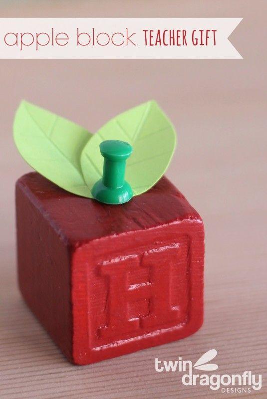 adorable apple block teacher gift