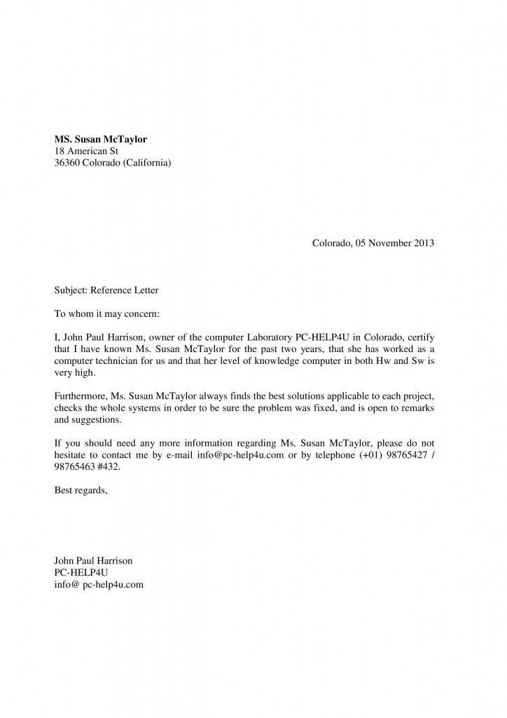 ejemplo de cartas de recomendacion laboral