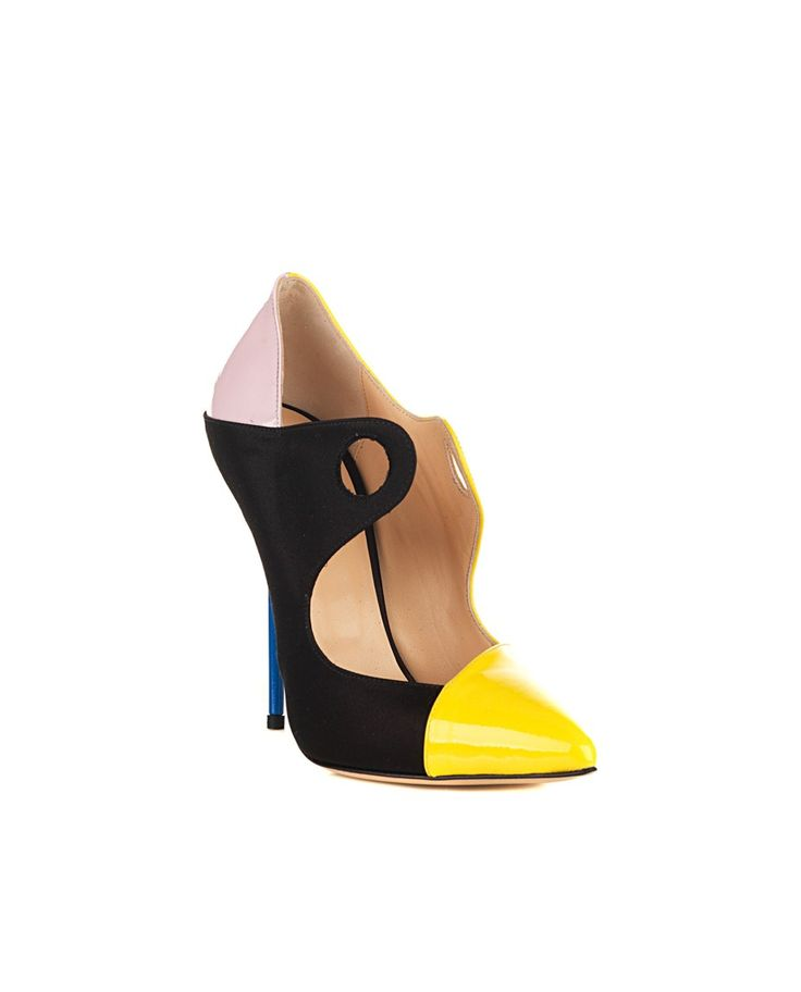 GIANNICO Dècolletè multicolor  satin and paint narrow tip contrast heel blue leather sole and lining Heel: 9 cm