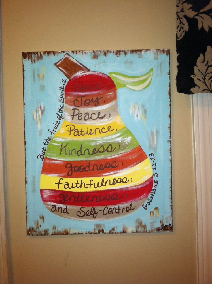 Fruit of the Spirit Distressed Pear Canvas
