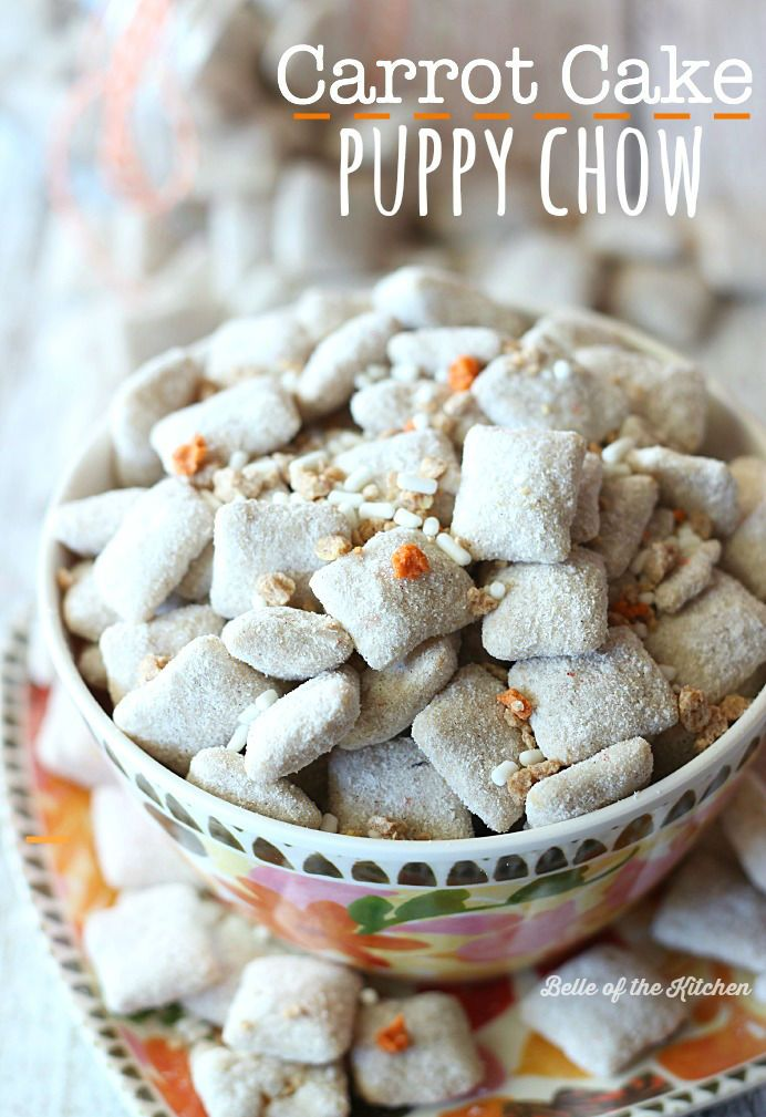 This Carrot Cake Puppy Chow is made with crispy rice cereal, white chocolate, and is loaded with carrot cake flavor. It's the perfect springtime snack!