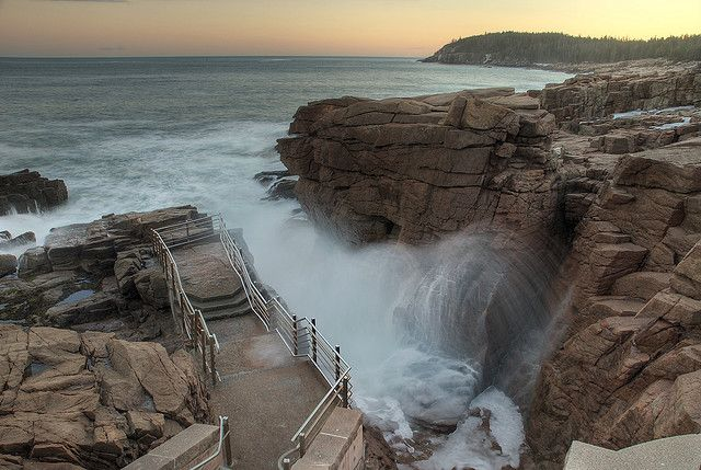 Thunder hole, Acadia National Park, Bar Harbor, Maine thundering sound when water hits rocks and explodes upward, love it