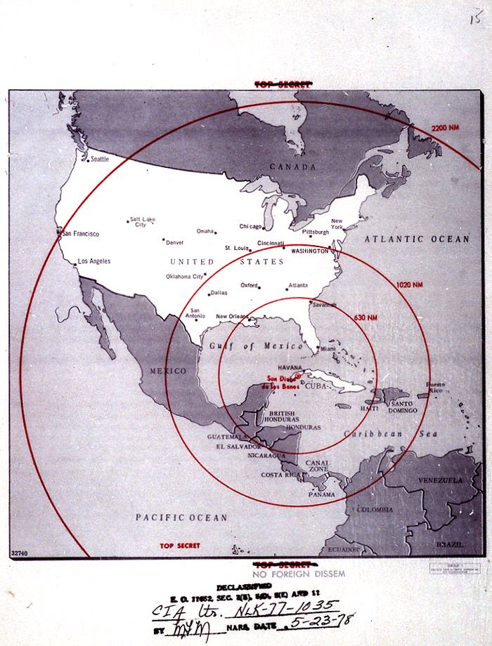sandypoint:  The CIA's Missile Range Map during The Cuban Missile Crisis