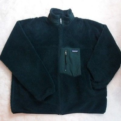 Mens Patagonia Retro X Fleece Jacket Size XL Forest Green Sherpa Deep Pile 23055