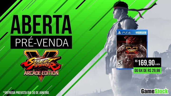 PRÉ-VENDA: STREET FIGHTER V: ARCADE EDITION  Está aberta a PRÉ-VENDA do STREET FIGHTER V: ARCADE EDITION, o último lançamento da franquia Street Fighter tem previsão de entrega para o dia 30-01-2018. Garanta o seu na Gamestock mais próxima de você!!!  Street Fighter V: Arcade Edition incluirá tudo do lançamento original de Street Fighter V, além do novo conteúdo de jogo que inclui o Modo Arcade, o Modo Batalha Extra, Galeria, novos V-Triggers, uma interface do usuário redesenhada e muito…