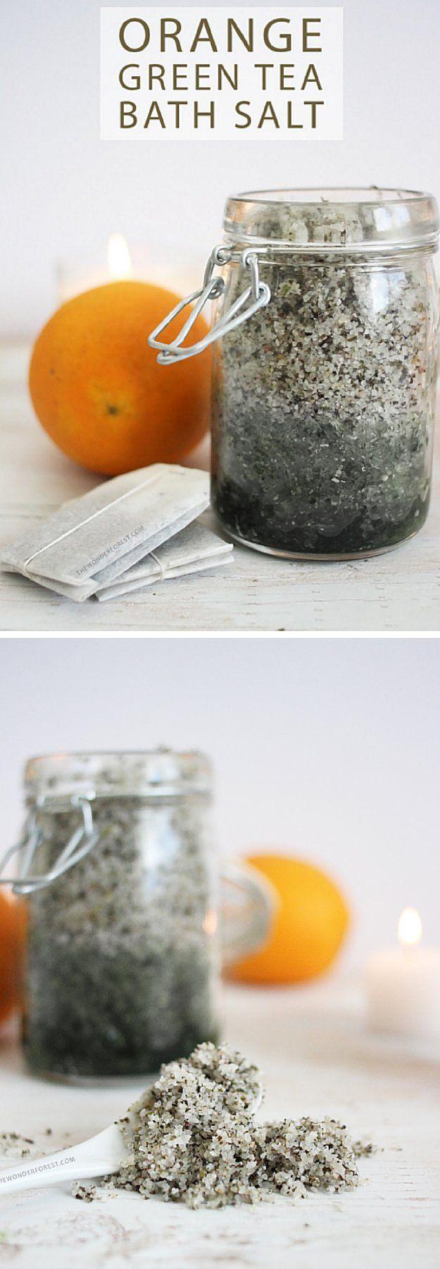 Orange Green Tea Bath Salts | 17 DIY Bath Salts | Learn How To Make The Most Relaxing Bath Salt Recipes by DIY Ready at  http://diyready.com/17-diy-bath-salts-bath-salt-recipe/