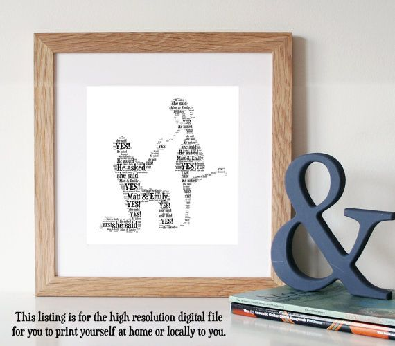 PERSONALISED Engagement Gift  Word Art  Printable by WordlyDesigns